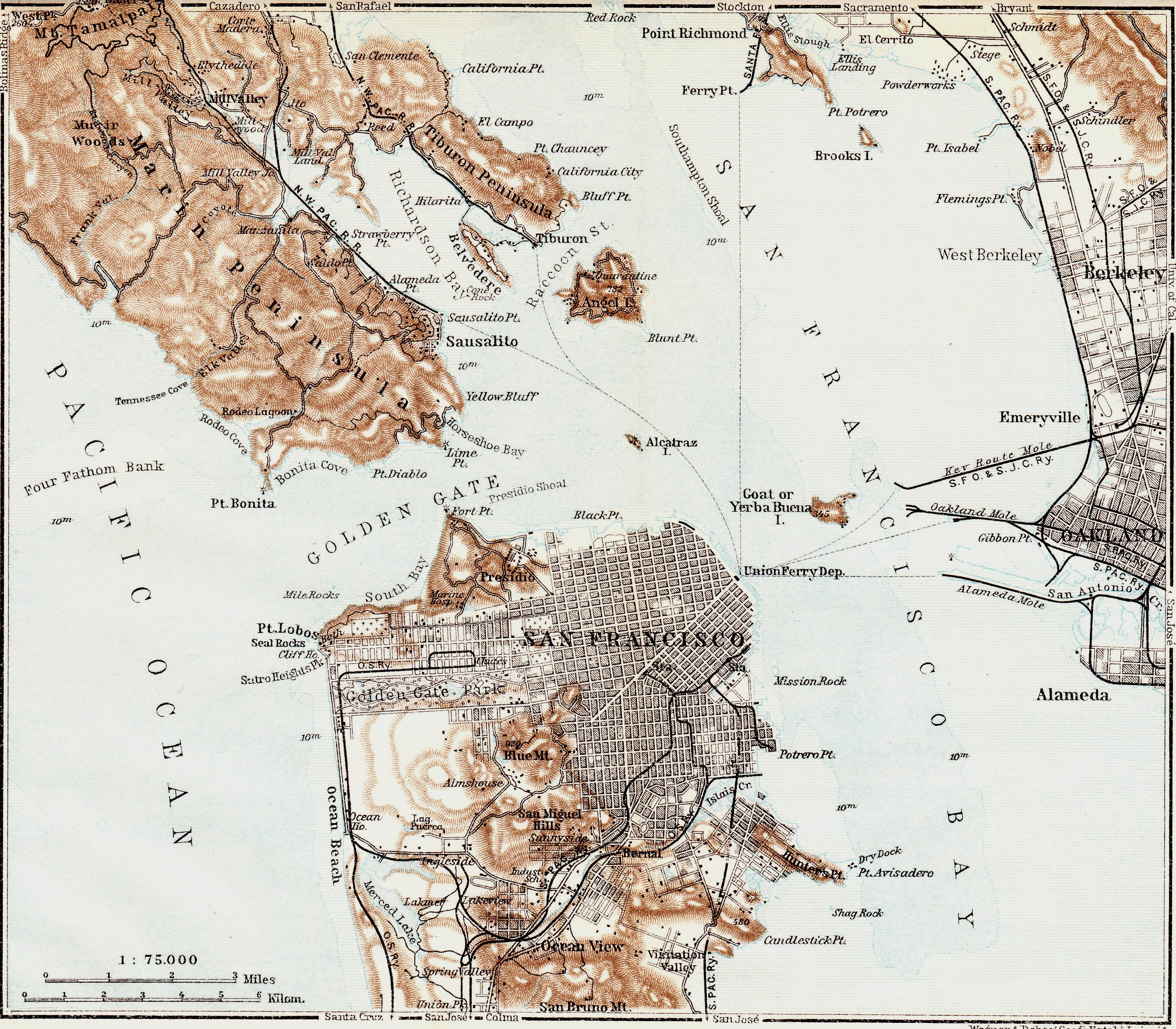 Behold this vintage 1909 map of the San Francisco Bay Area