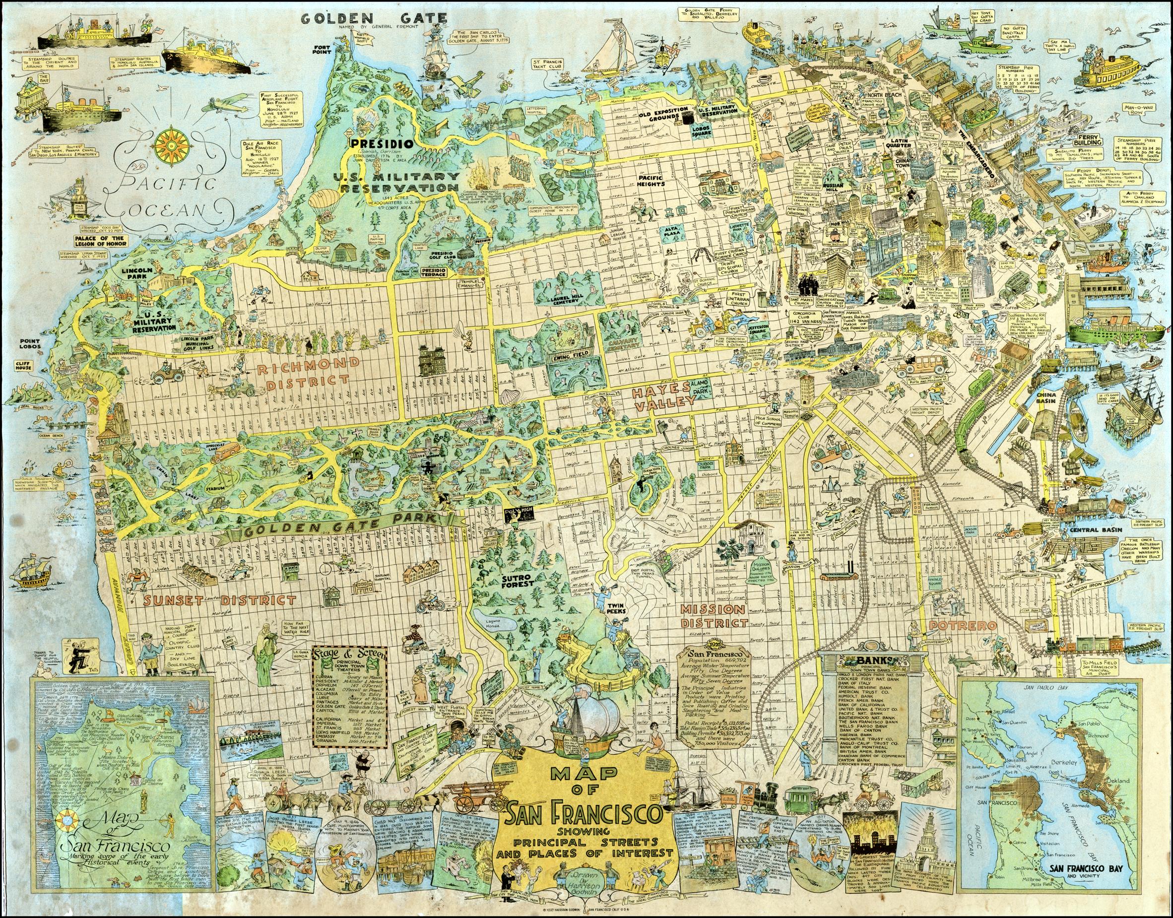 1927 tourist map highlights neighborhood landmarks | Richmond ...
