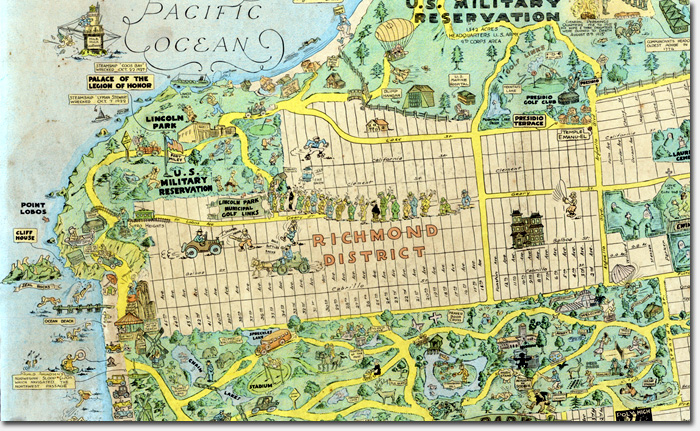 1927 tourist map highlights neighborhood landmarks Richmond